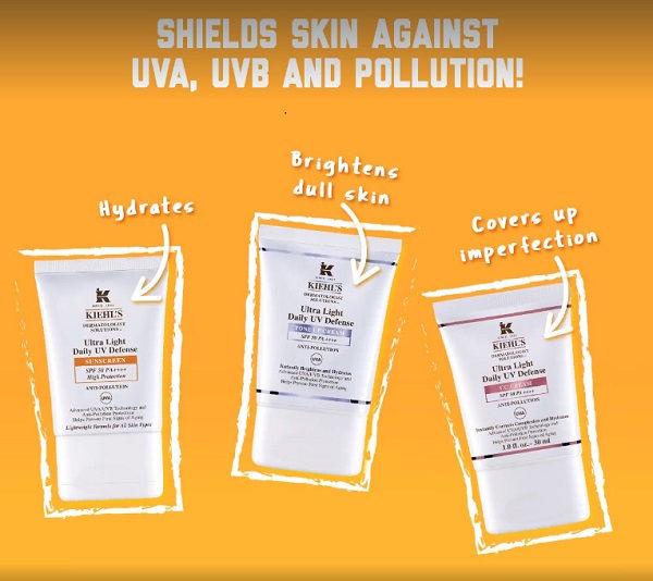 Ba loại trong dòng kem chống nắng Kiehl's Ultra Light Daily UV Defense SPF 50 PA++++
