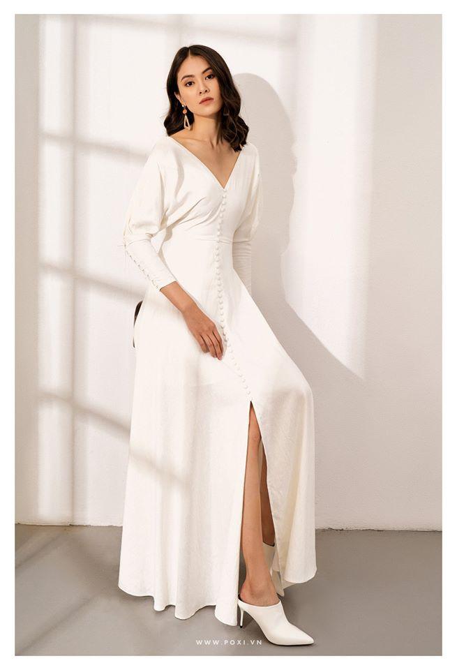Đầm cổ V thanh lịch, sang trọng tại POXI Fashion