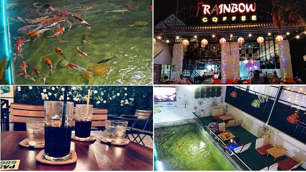 Một điểm nhấn khó quên ăn của Rainbow Coffee chính là có hồ cá đẹp mắt ngay trong khuôn viên quán