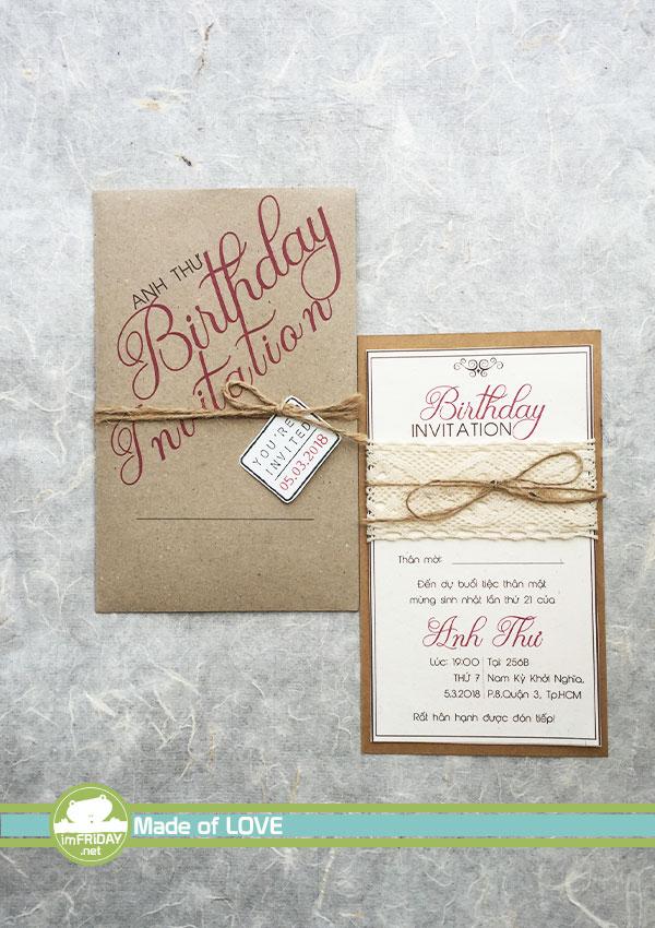 Thiệp mời sinh nhật đơn giản trang trọng