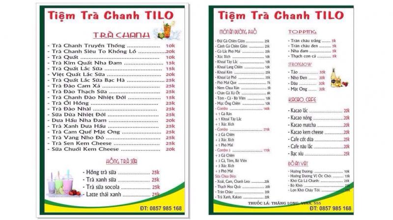 Menu phong phú đủ loại đồ ăn, thức uống của TiLo